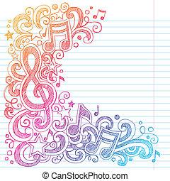 muzieknota's, sketchy, doodles, g clef