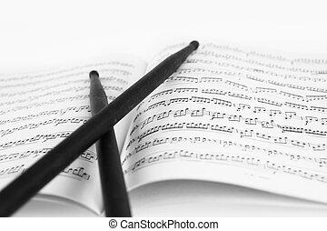 muzieknoten, plakken, trommel