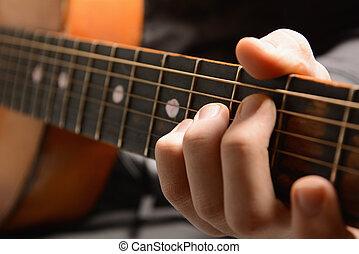 muzikaal instrument, met, artiest, handen