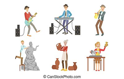 muzikalisch, ceramist, beroepen, naaister, set, beeldhouwer,...