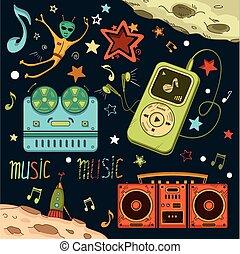 muzikalisch, communie, set, ruimte