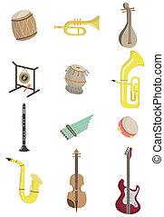 muzikalisch, spotprent, instrument, pictogram