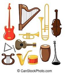 muzikalisch, spotprent, instrumenten