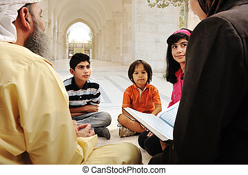 muzulmán, arab, szembogár, csoport, oktatás