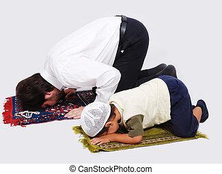 muzulmán, imádás, elfoglaltságok, alatt, ramadan, jámbor,...