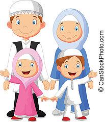 muzulmán, karikatúra, család, boldog