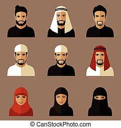 muzulmán, lakás, avatars