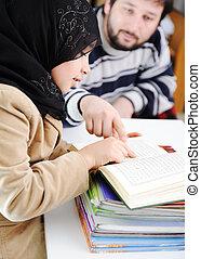 muzulmán, leány, tanulás, fogad to tanít