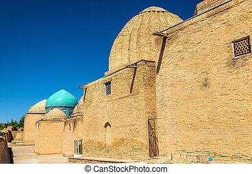 muzulmán, -, samarkand, üzbegisztán, shah-i-zinda, necropolis
