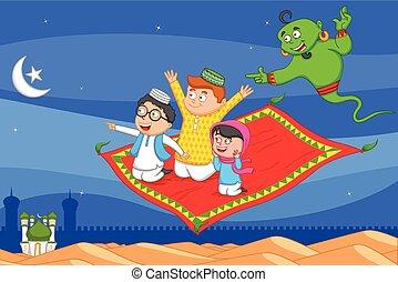 muzulmán, varázslatos, mubarak, repülés, kíván, eid, szőnyeg...