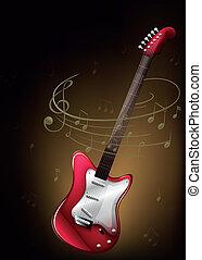 muzyczny, czerwony, notatki, gitara
