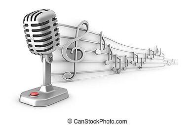 muzyczny, mikrofon, notatki, personel