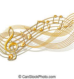 muzyczny notatnik, personel, tło, na, white.