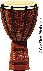 muzyczny, wektor, albo, background/djembe, odizolowany, biały, kolor, afrykanin, ilustracja, bęben, instrument