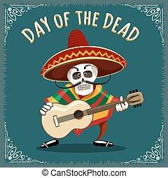 muzyk, meksykanin, dzień, zmarły