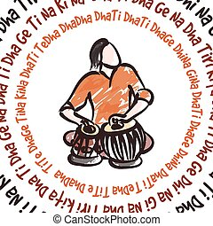 muzyk, tabla, indianin, interpretacja