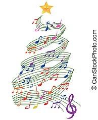 muzyka, drzewo, boże narodzenie, barwny