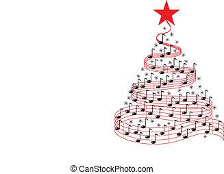 muzyka, drzewo, boże narodzenie