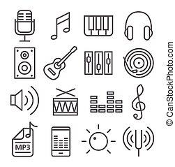muzyka, ikony, w, modny, linearny, styl