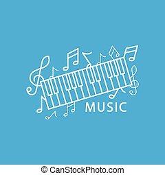 muzyka, ilustracja, w, modny, linearny, styl