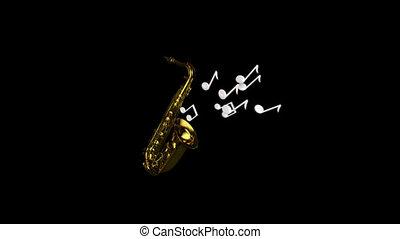 muzyka, jazz, -, ożywienie, 3d