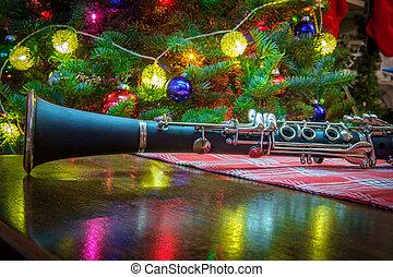 muzyka, klarnet, drzewo, boże narodzenie