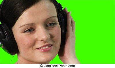muzyka, kobieta, kroma-key, słuchający