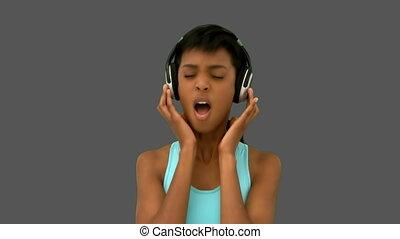 muzyka, kobieta, piękny, słuchający