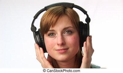 muzyka, kobieta, słuchający