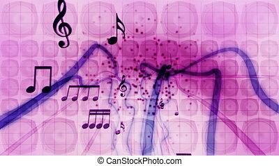 muzyka, mówiące, i, notatki, pętla