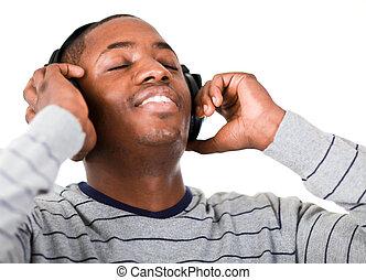 muzyka, młody, słuchający, dorosły