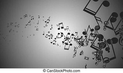muzyka, notatnik., barwny, ożywiony, tło, abstrakcyjny
