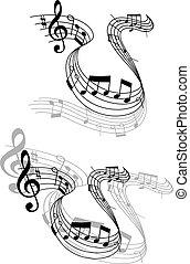 muzyka notatnik, karb, obracanie, muzyczny