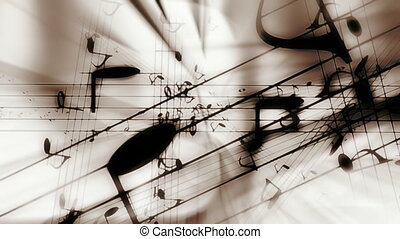 muzyka notatnik, klasyk, kolor, pętla