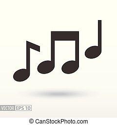 muzyka notatnik, płaski, icon., znak, muzyka