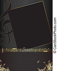 muzyka notatnik, tło, złoty