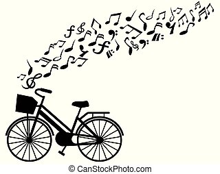 muzyka notatnik, wektor, rower, tło