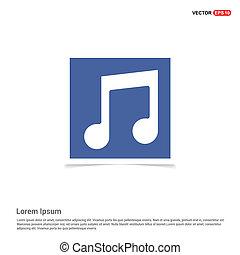 muzyka notują, ikona, -, błękitny, zdejmować budowę