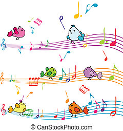 muzyka notują, z, rysunek, ptaszki, śpiew