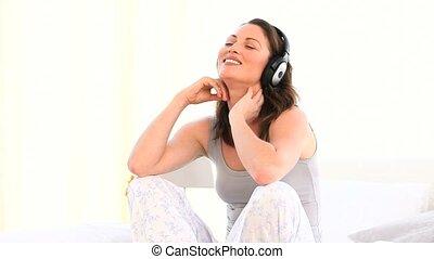 muzyka, superb, kobieta, słuchający