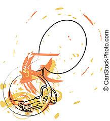 muzyka, wektor, instrument., ilustracja