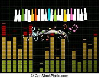 muzyka, wektor, -, wykres, tło, klawiatura, zysk, studio, ...