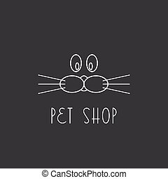 Muzzle dog or cat, logo pet shop