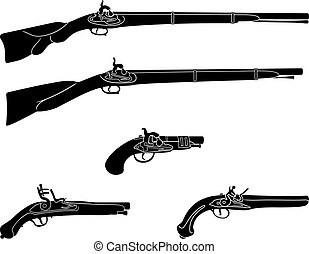 Muzzle loading firearms - Old guns and pistols black and...