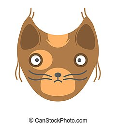 Muzzle of a brown cat on a white background