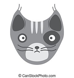 Muzzle of a gray cat on a white background