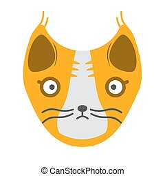 Muzzle of a yellow cat on a white background