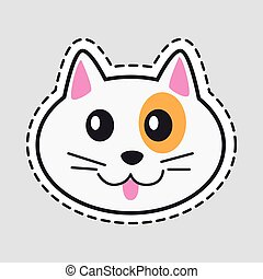 Muzzle of Cat. Cut it out. Icon of Isolated Animal - Muzzle...
