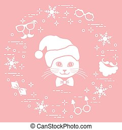 Muzzle of cat in Christmas hat and carnival masks, snowflakes, glasses, bow tie, beard, mustache. Carnival festive concept.