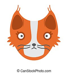 Muzzle red cat on a white background